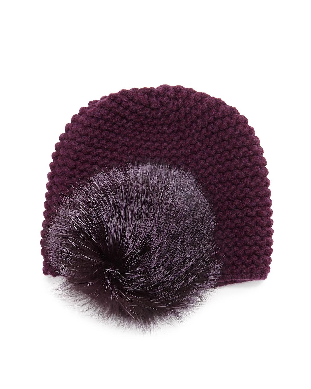 Inverni Fur Pom-Pom Beanie Hat, White