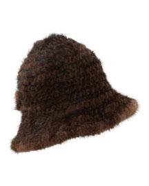 Mink Fur Structured Bucket Hat