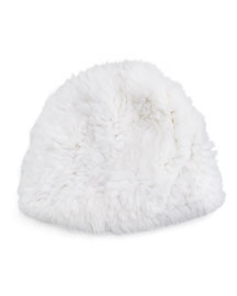 Knitted Rabbit Fur Reversible Puffy Hat