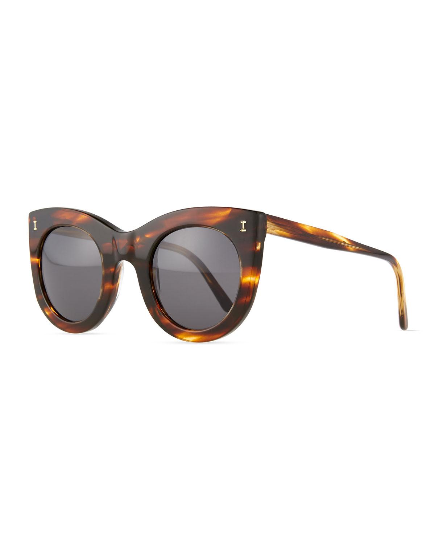 Illesteva Boca Round Plastic Sunglasses, Dark Sand