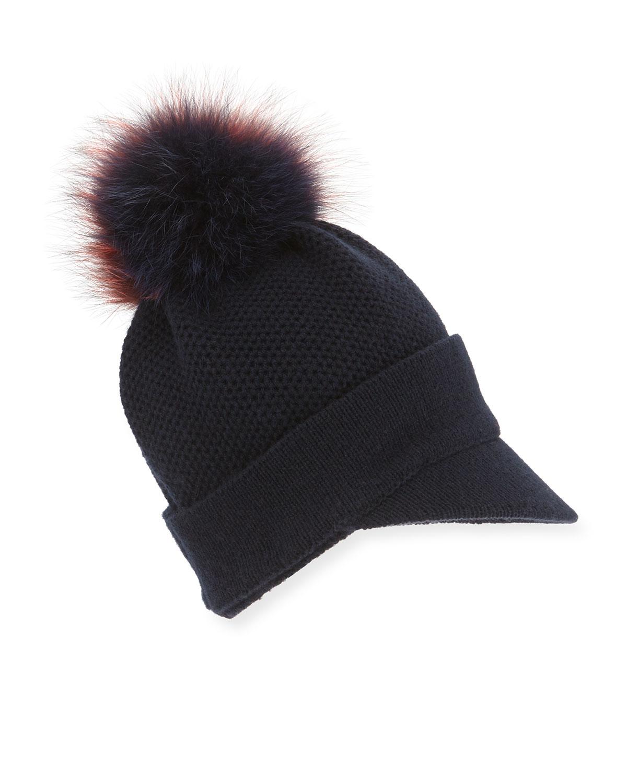 Inverni Knit Beanie Hat w/Fur Pom-Pom, Navy