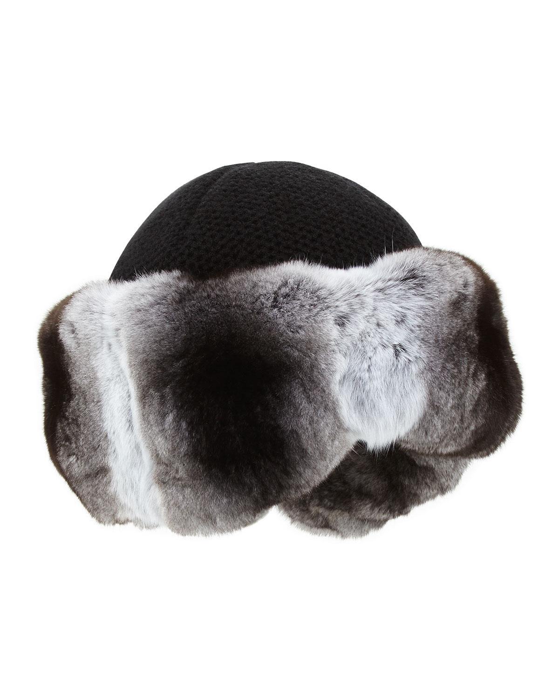 Inverni Cashmere Knit Hat with Chinchilla Fur Brim, Size: 58/M, Black