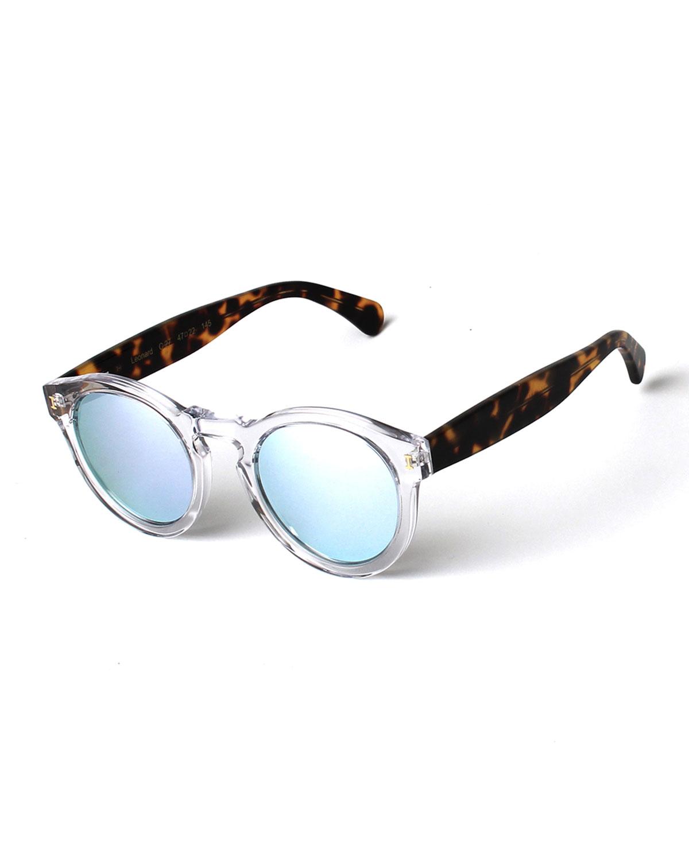 Illesteva Leonard Round Mirrored Sunglasses, Clear