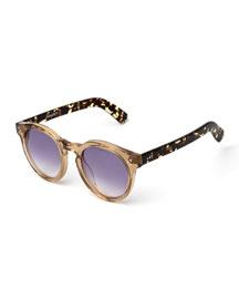 Leonard II Round Sunglasses, Brown/Pink