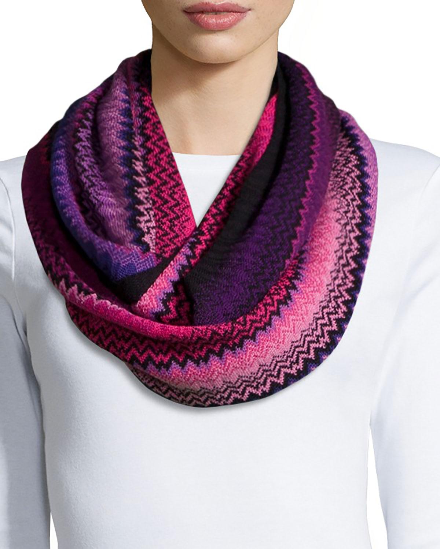 Missoni Zigzag Knit Infinity Scarf/Cowl Collar, Purple/Pink