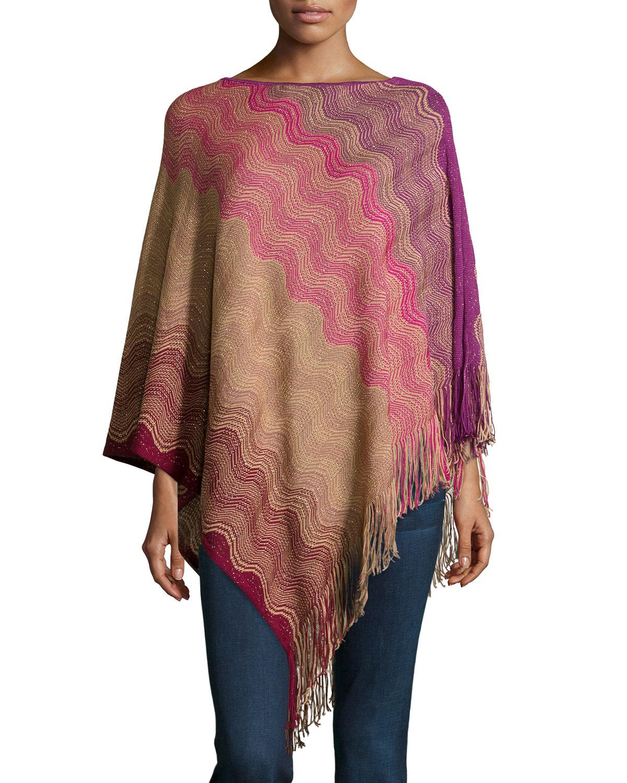 Missoni Striped-Knit Fringe-Trim Poncho, Purple/Red