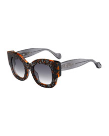 Silvy Square Geo-Print Sunglasses, Orange/Gray