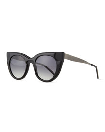 Sabry Flared-Brow Sunglasses, Black