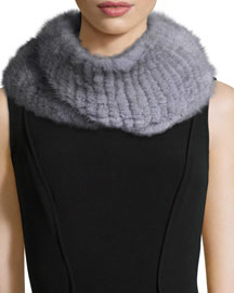 Knitted Mink Fur Infinity Scarf, Gray