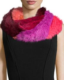 Patchwork Rabbit Fur Infinity Scarf