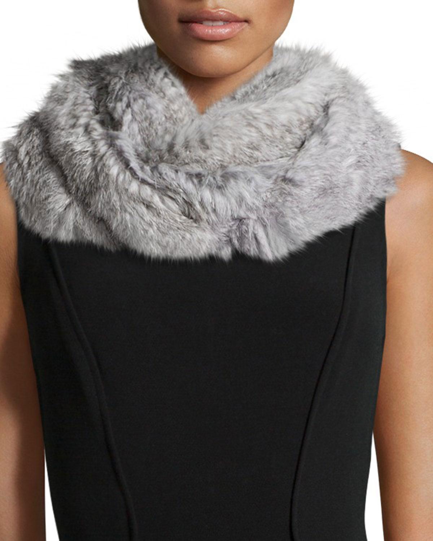 Jocelyn Knitted Rabbit Fur Infinity Scarf, Gray