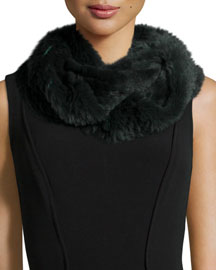 Sheared Rabbit Fur Knitted Infinity Scarf