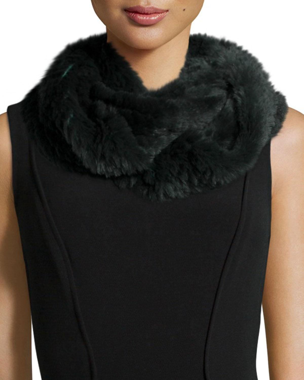 Jocelyn Sheared Rabbit Fur Knitted Infinity Scarf, Purple