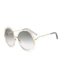 Carlina Round Wire-Frame Sunglasses, Gold/Gray