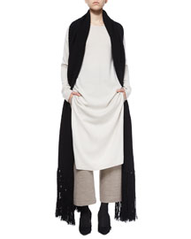 Cashmere-Wool Long Scarf, Black