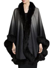 Fox-Fur-Trim Ombre Scarf, Gray