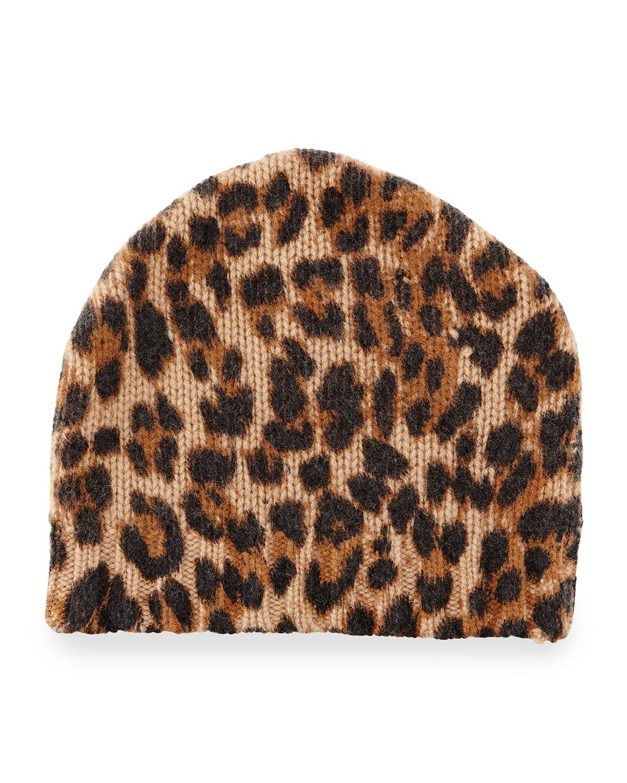 Sofia Cashmere Leopard-Print Cashmere Beanie Hat, Leopard