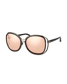 Double-Rim Oversize Butterfly Sunglasses