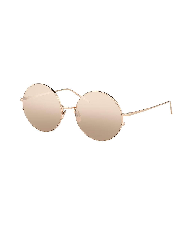 Linda Farrow Round Metal Sunglasses, Rose-Tone, Rose Gold