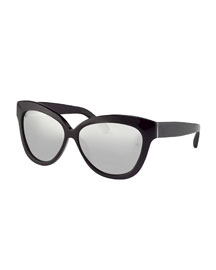 Thick Cat-Eye Sunglasses, Black