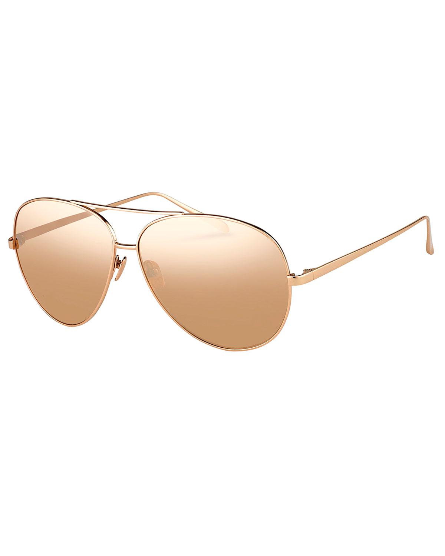 Linda Farrow Mirrored Aviator Sunglasses, Rose-Tone Metal, Rose Gold