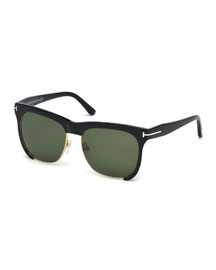 Thea Dual-Rimmed Sunglasses, Black