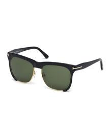 Thea Dual-Rimmed Sunglasses, Black
