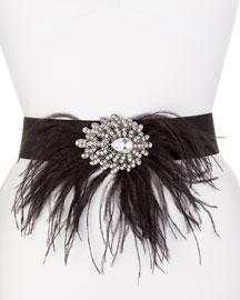 Lola Stretch Belt w/Jeweled Feather