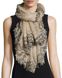 Floral-Trim Gauze Shawl, Tan