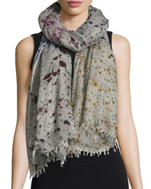 Mix Splatter-Print Cashmere Scarf, Gray Multi