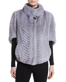 Chevron-Knit Fur Jacket, Sapphire