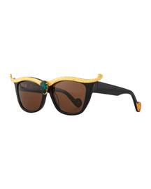 Empress Embellished Square Sunglasses w/ Crystal Center, Black/Emerald