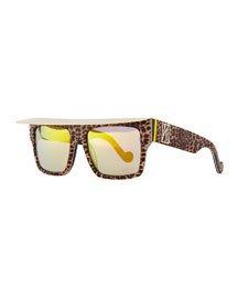 Shady Sunglasses with Visor, Glitter Leopard