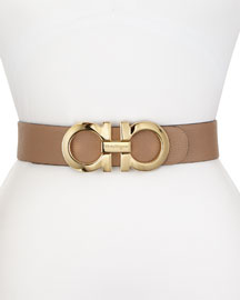 Wide Reversible Logo-Buckle Pebbled Leather Belt, Nutmeg