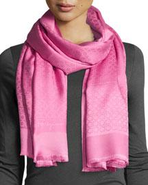St. Gan Silk-Blend Logo Scarf, Pink