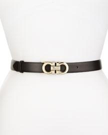 Ceylon Pebbled Leather Belt, Black