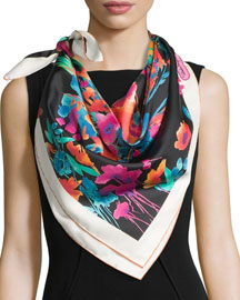 Layla Silk Square Butterfly Scarf, Black