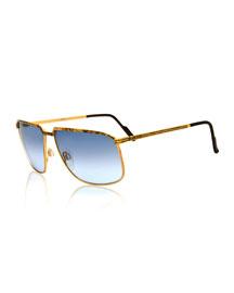 Vintage Angled Metal Sunglasses, Gold