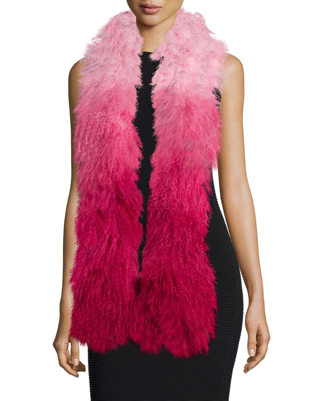 Charlotte Simone Shaggy Fur Gradient Stole, Pink Gradient