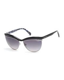 Flared-Brow Cat-Eye Sunglasses, Black
