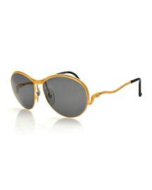 Vintage Snake-Temple Sunglasses, Gold