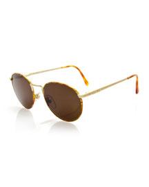 Vintage Round Speckled Sunglasses, Gold