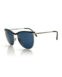 Vintage Butterfly Sunglasses, Black/Silver
