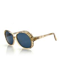 Vintage Oversized Crystal-Temple Sunglasses, Gold