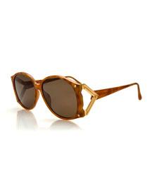 Vintage Marbled Sunglasses w/Metal Temple, Brown