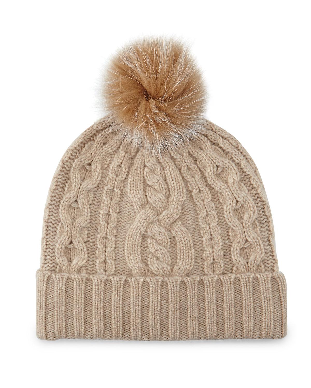 Sofia Cashmere Cable-Knit Cashmere Beanie Hat w/ Fur Trim, Gray