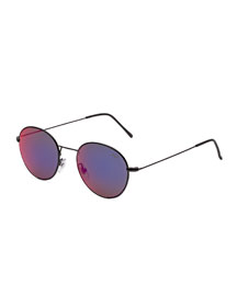 Wire Reflector Prism Round Sunglasses, Black