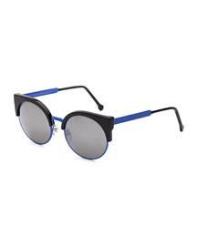 Ilaria Mirrored Iridescent Sunglasses, Black/Blue