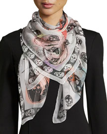 Skull On Butterfly Scarf, Ivory/Pink