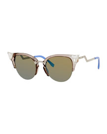 Iridia Cat-Eye Crystal-Tip Sunglasses